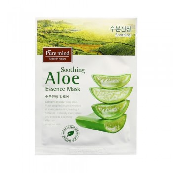 [PURE MIND] Soothing Aloe Essence Mask  Contains moisturizing aloe. Mask supplies a concentration of moisture to skin, leaving it hydrated. 10pcs(box)