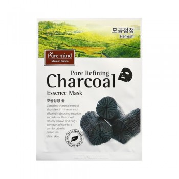 [PURE MIND] Pore Refining Charcoal Essence Mask  Contains charcoal extract abundant in minerals and effective in absorbing impurities and sebum 10pcs(box)